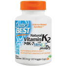 Natural Vitamin K2 MK7 with MenaQ7 plus D3, 180mcg - 60 vcaps