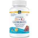 Vitamin D3+K2 Gummies, Pomegranate - 60 gummies